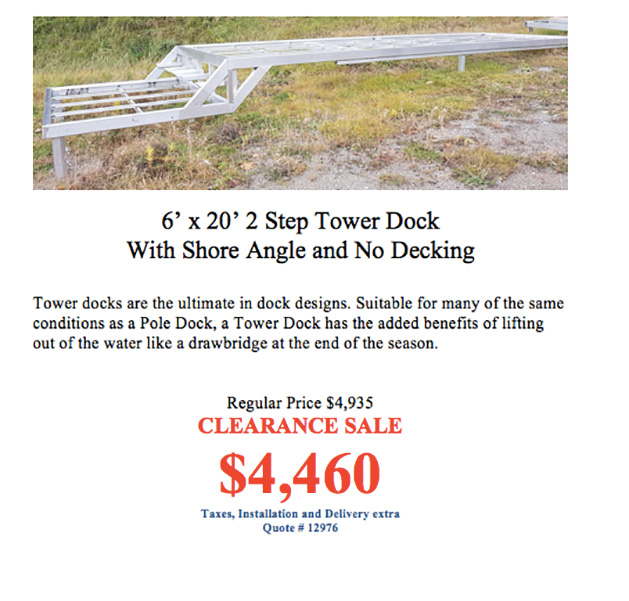 Clearance Deals on Docks, Dock Hardware and Accessories